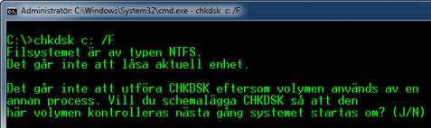CHKDSK vill kontrollera under nästa omstart