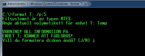 Kommandopromten Format Verifiering