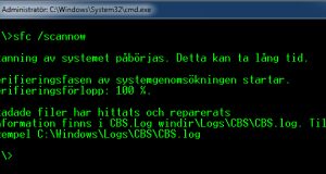 Reparera systemfiler med system file checker i Windows 7