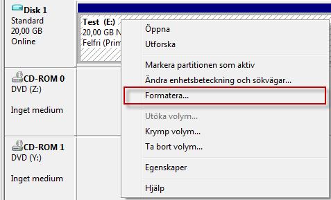 Formatera partition i Diskhantering