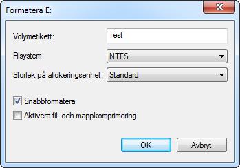Formatera partition alternativ