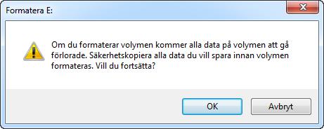 Formatera partition varning