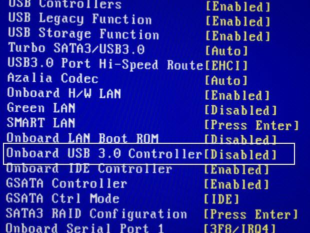 Gigabyte avaktivera USB 3.0 Controller