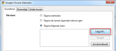 Startsidor i Google Chrome