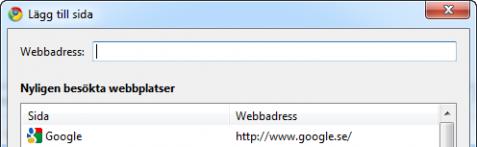Välja startsidor i Google Chrome