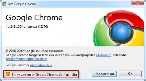 Uppdatering finns till Google Chrome
