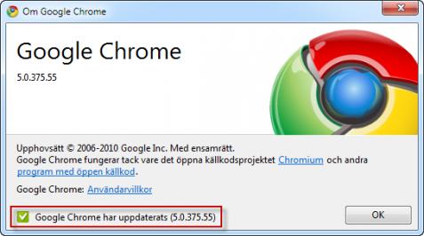 Google Chrome är uppdaterad