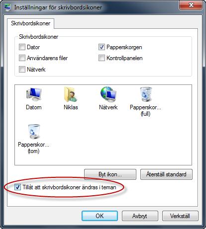 Tillåt att skrivbordsikoner ändras i teman i Windows 7