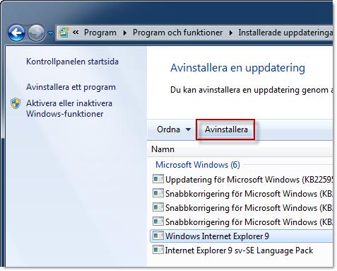 Avinstallera Internet Explorer 9