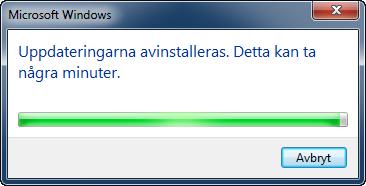 Internet Explorer 9 avinstalleras