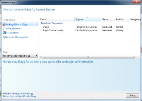 Internet Explorer 9 Hantera Tillägg