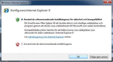 Internet Explorer 9 Konfigurera