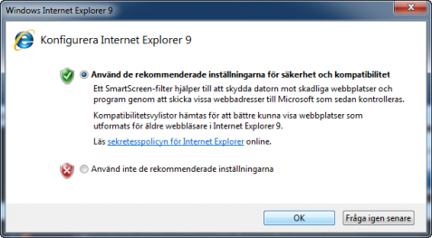 Internet Explorer 9 Konfigurera