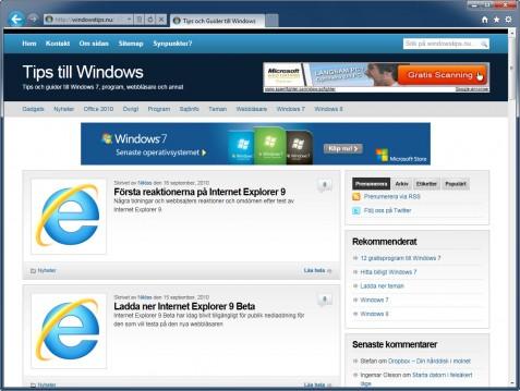Internet Explorer 9 utseende