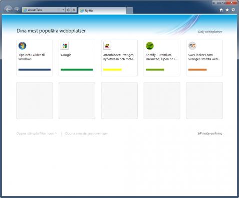 Internet Explorer 9 Webbplatser