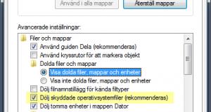 Visa dolda filer och mappar