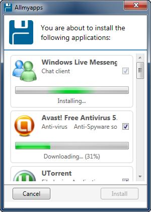 Programmen installeras med Allmyapps