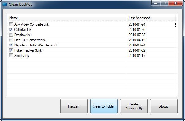 CleanDesktop - Rensa ikoner på skrivbordet i Windows 7