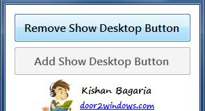 Ta bort knappen visa skrivbordet