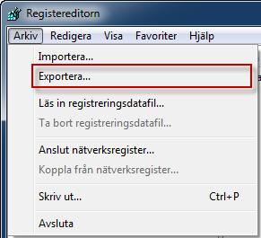 Exportera registret