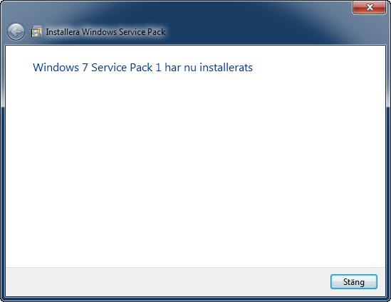 Service Pack 1 installerat