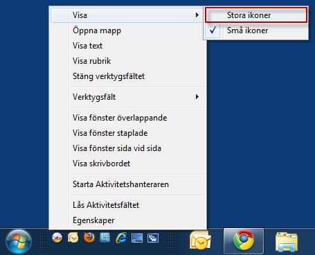 Snabbstartfältet i Windows 7