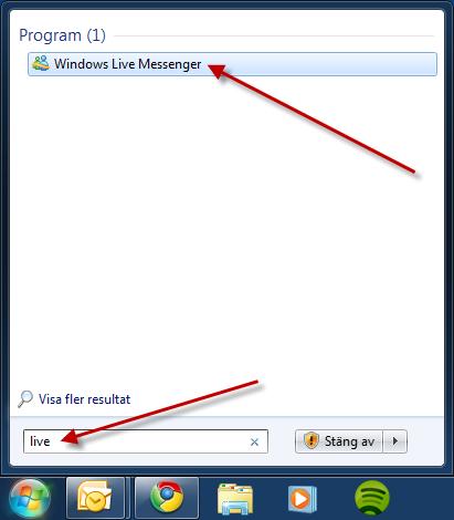 Starta Windows Live Messenger