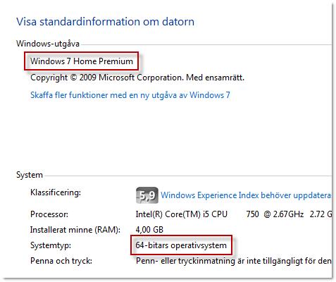 Windowsversion och Systemtyp