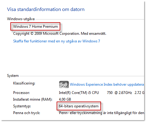 Windowsversion och Systemtyp