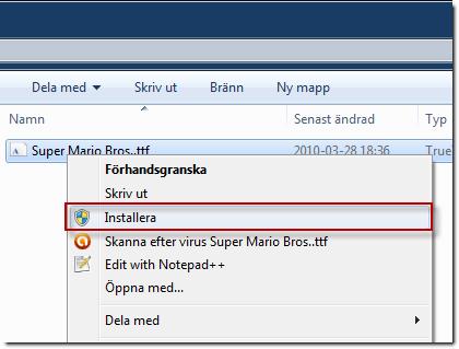 Installera typsnitt