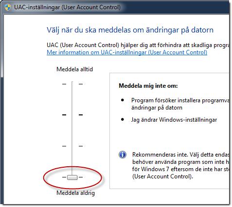 Stänga av UAC