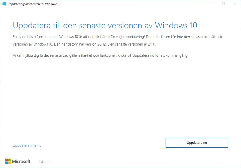 Uppdatera Windows 10 till 21H1