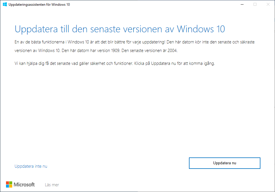 Uppdatera Windows 10