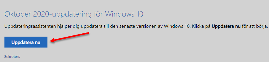 Uppdatera Windows 10 20H2