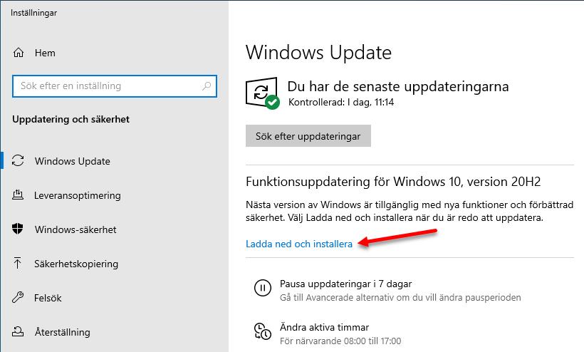Uppdatera Windows 10 via Windows Update