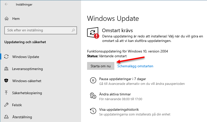 Uppdatera Windows 10 via Windows Update