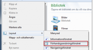 Förhandsvisa filer i utforskaren i Windows 7