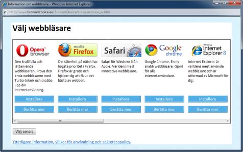 Alternativ för val av webbläsare
