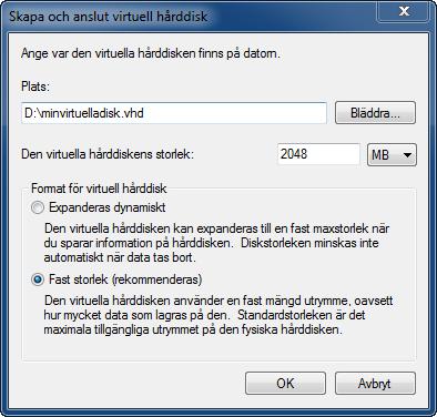 Inställningar för virtuell hårddisk