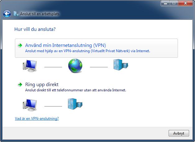 Anslut med VPN