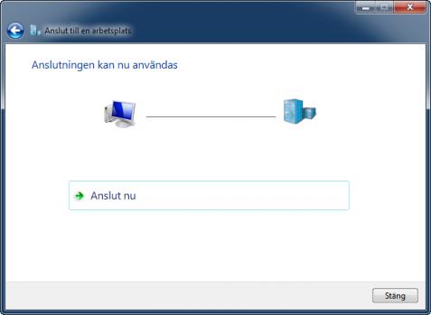 VPN-anslutningen klar