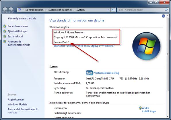 Windows 7 med SP1