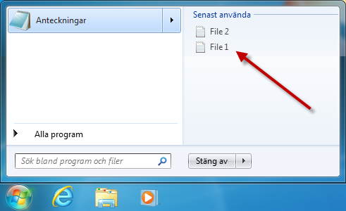 Snabblista i startmenyn i Windows 7
