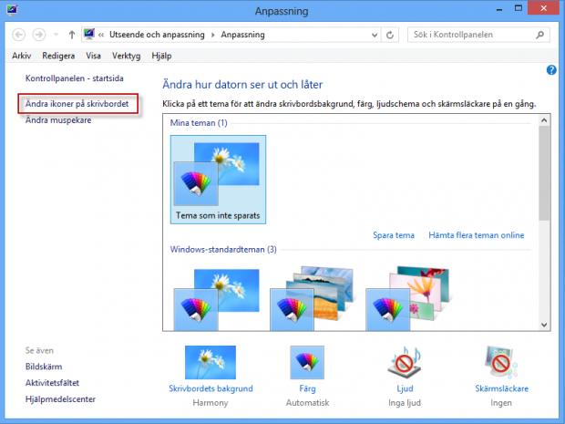 Lägg till ikonen dator på skrivbordet i Windows 8