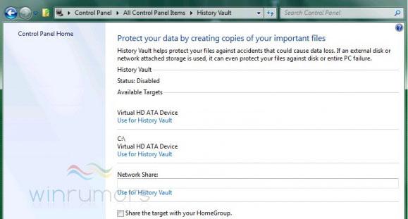 Läckt bild på Windows History Vault