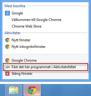 Fäst program i aktivitetsfältet från desktop