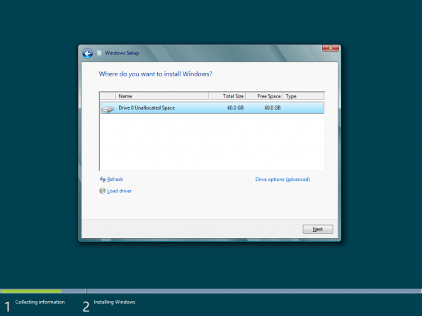 Installation av Windows 8 Consumer Preview