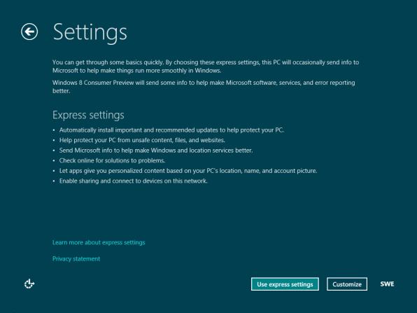 Installation av Windows 8 Consumer Preview