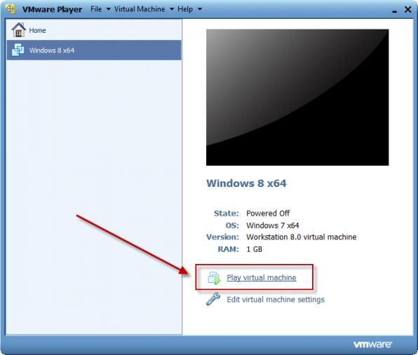 Windows 8 installation i VMware Player