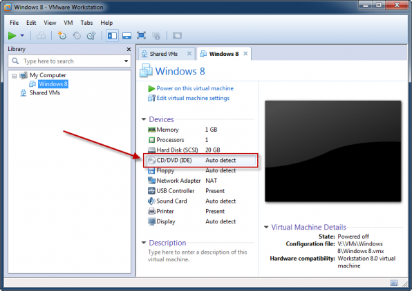 Windows 8 installation i VMware Workstation